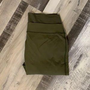 Olive Lululemon cropped slit leggings